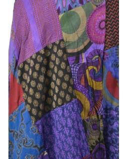 Delší zavinovací sukně s potiskem, patchwork design, fialová , vázačka