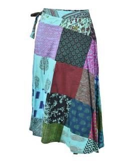 Delší zavinovací sukně s potiskem, patchwork design, tyrkys, vázačka