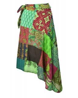 Delší zavinovací sukně s potiskem, patchwork design, zelená, vázačka