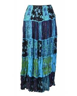 Dlouhá modrá patchworková sukně, kombinace potisků, pružný pas