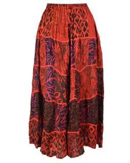 Dlouhá červená patchworková sukně, kombinace potisků, pružný pas