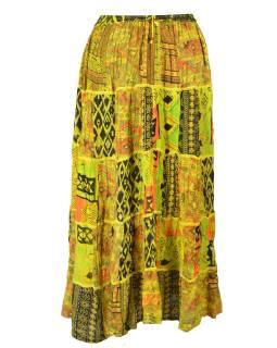 Dlouhá žlutá patchworková sukně, kombinace potisků, pružný pas