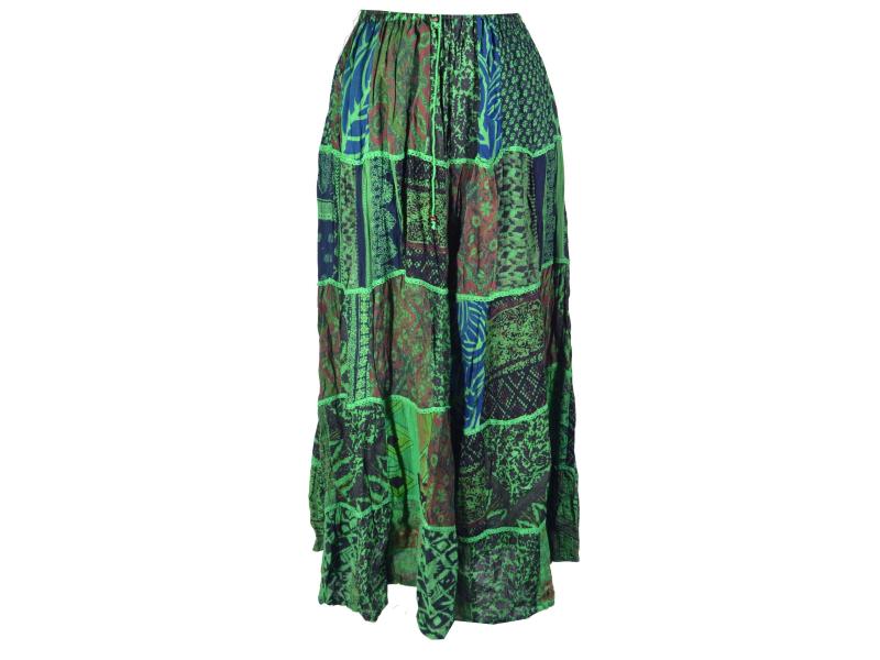 Dlouhá zelená patchworková sukně, kombinace potisků, pružný pas