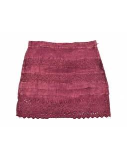 Krátká sukně  zapínaná na zip, vínová, stonewashed design
