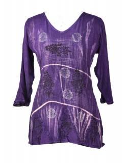 Letní halena s rukávem, výšivka, batika, fialová