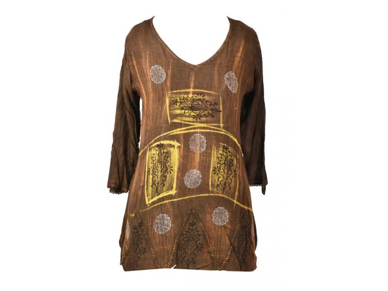 Letní halena s rukávem, výšivka, batika, hnědá