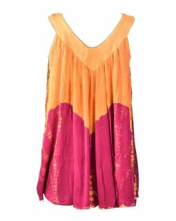 Letní halena bez rukávu, batika, oranžovo-růžová
