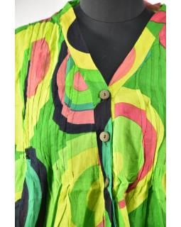 Letní halena s potiskem a knoflíčky, round design, zelená