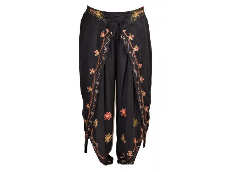 Dlouhé thajské kalhoty, černá, pružný pas, výšivka