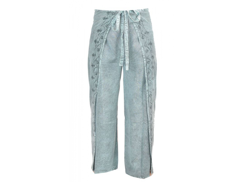 Dlouhé zavinovací kalhoty s výšivkou, zelená