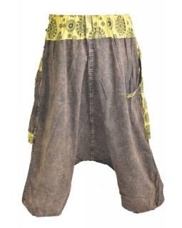 Unisex turecké kalhoty s kapsami, stonewashed design, chakra print