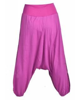 Fialové turecké kalhoty s potiskem, výšivka