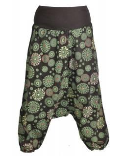 Černé turecké kalhoty s potiskem chakra, výšivka