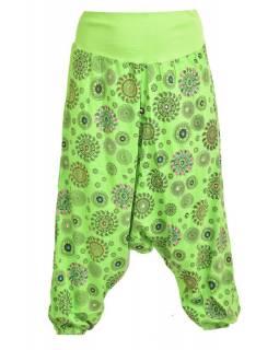 Zelené turecké kalhoty s potiskem chakra, výšivka