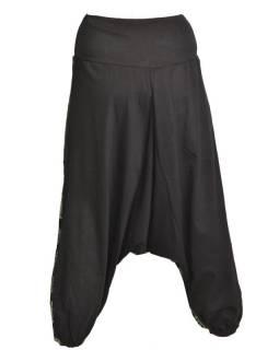 Černé turecké kalhoty s potiskem paisley, výšivka
