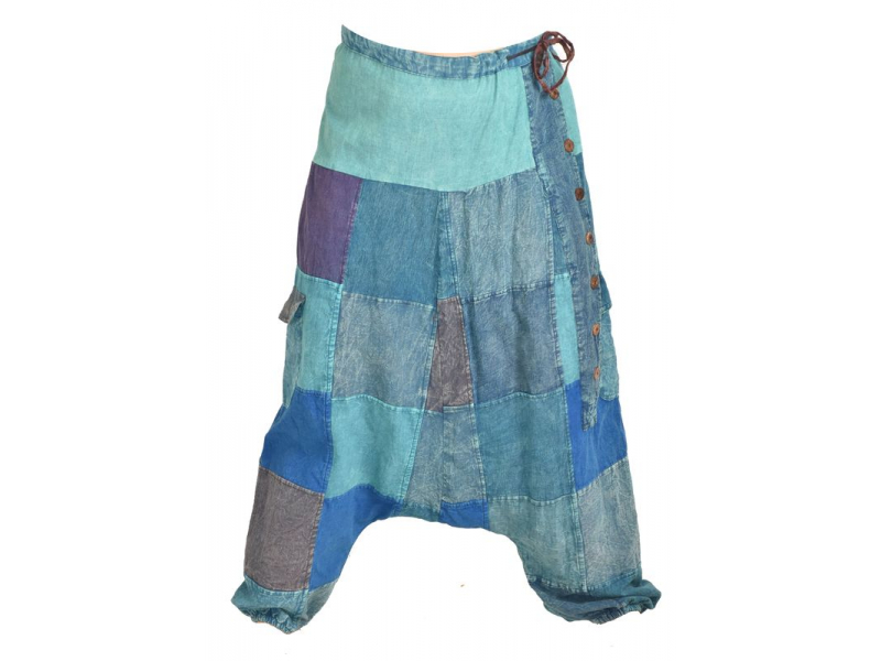 Unisex turecké kalhoty s kapsami a knoflíky, stonewashed design