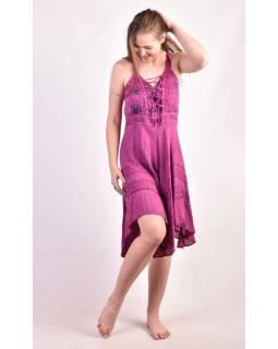Krátké růžové šaty na ramínka, výšivka
