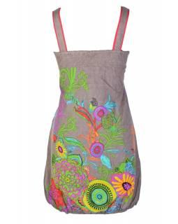 """Šaty, krátké, bez rukávů, """"Eolia"""", šedo-hnědé, tisk květy, kapsy, balónové"""