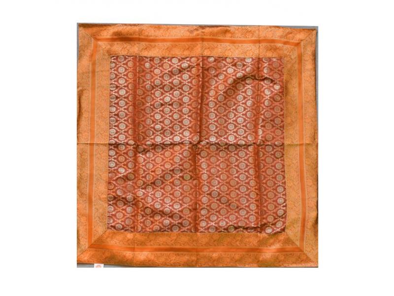 Ubrus na stůl, rezavý, brokát, 100x100cm