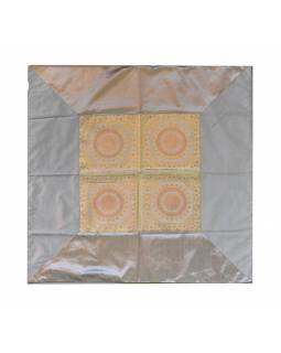 Ubrus na stůl, stříbrný, mandala, brokát, 100x100cm