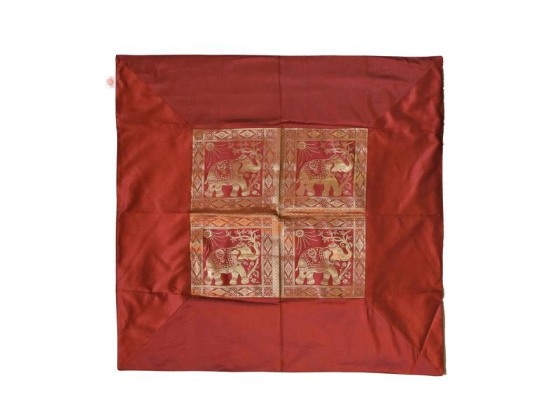 Ubrus na stůl, červený, sloni, brokát, 100x100cm