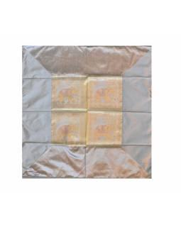 Ubrus na stůl, stříbrný, sloni, brokát, 100x100cm