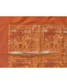 Ubrus na stůl, rezavý, sloni, brokát, 100x100cm