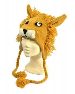 Čepice s ušima, lev, vlna, podšívka