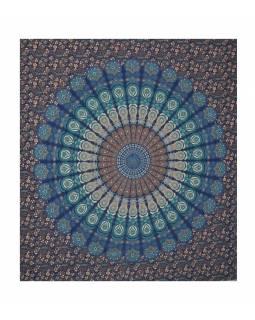 """Přehoz přes postel, """"Barmeri round"""", mandala, 202x230cm, modro-tyrkysový"""