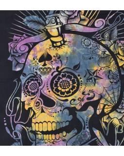 Černý přehoz s lebkou, barevný potisk, 205x225cm