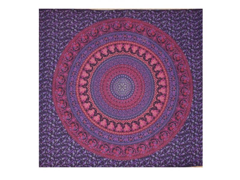 Přehoz přes postel, modrý, Barmeri round, floral , 200x225cm