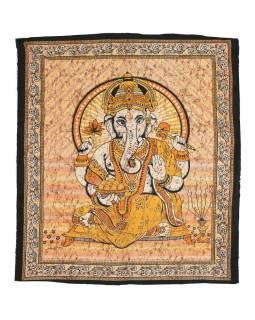 Přehoz na postel, Ganesh, žlutý, 215x225cm