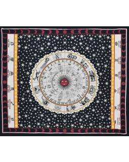 Přehoz na postel, Zvěrokruh, černo-červeno-bílý, 200x220cm