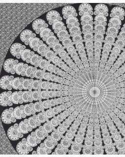 Bavlněný přehoz s mandalou, černo bílý, 200x210cm