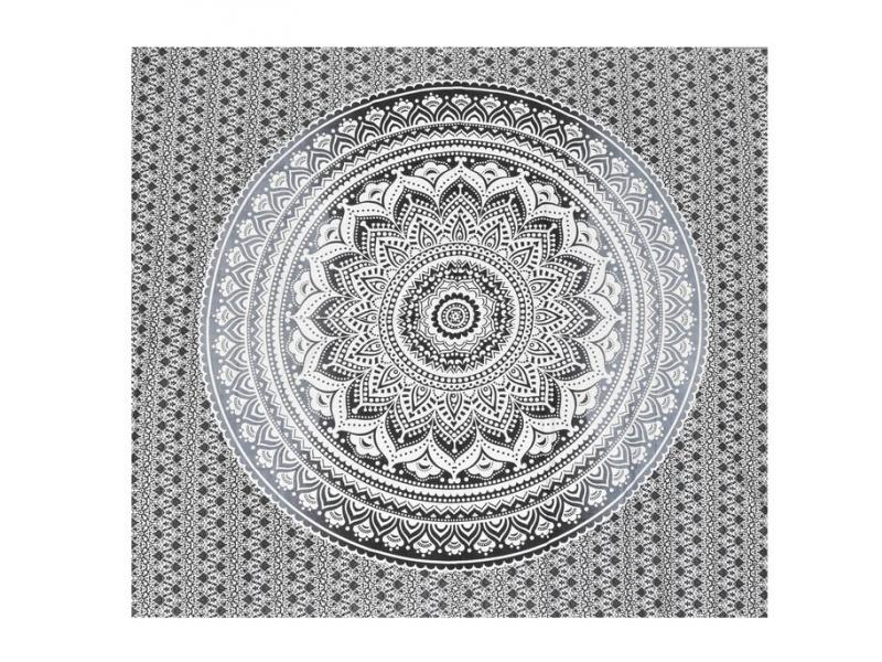 Přehoz na postel, Mandala, šedý tisk, 224x206cm