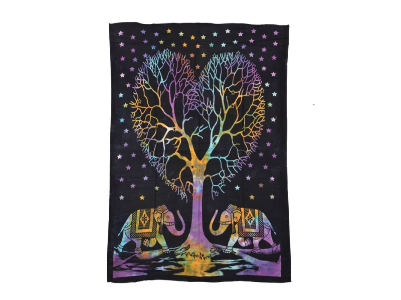 Přehoz s tiskem, sloni a strom života, 200x140cm
