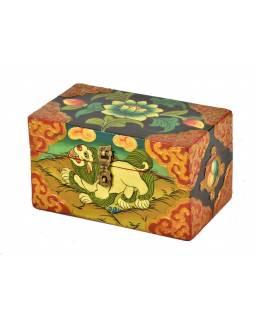 Dřevěná truhlička, tibetský design-sněžný lev, 15x9x9cm