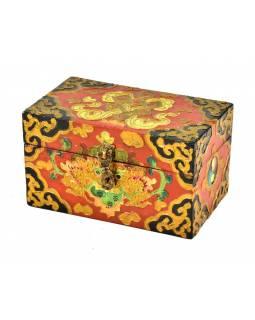 Dřevěná truhlička, tibetský design-Cheppu, 15x9x9cm