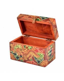 Dřevěná truhlička, tibetský design-drak, 18x10x11cm