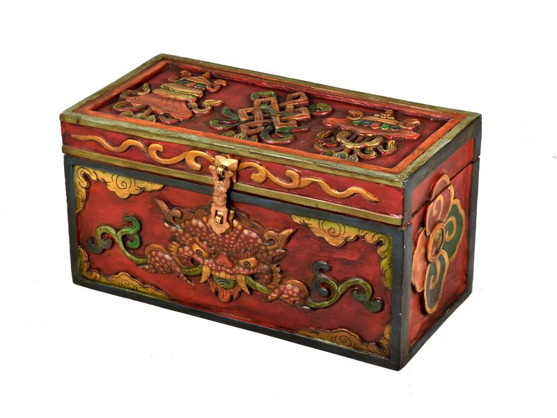 Dřevěná truhlička, tibetský design-Buddha, 35x17x19cm