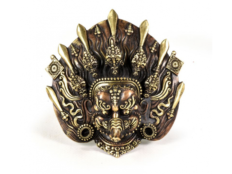 Kovová maska na stěnu, Varahi, 13x13cm