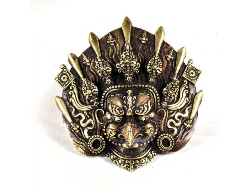 Kovová maska na stěnu, Garuda, 13x13cm