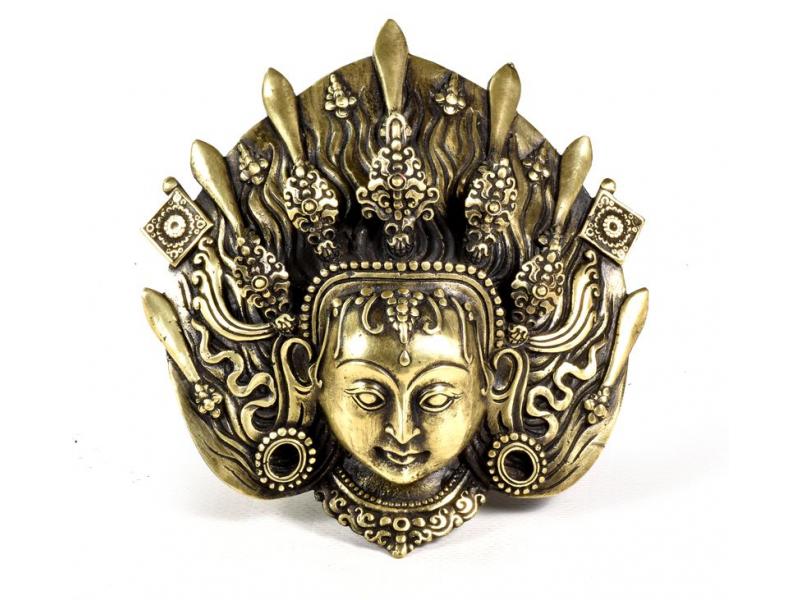 Kovová maska na stěnu, Kumari, 13x13cm