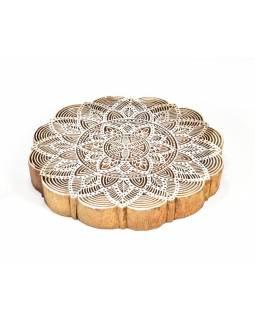 """Vyřezávané razítko """"Mandala"""", ruční práce, palisandr, 21x21cm"""