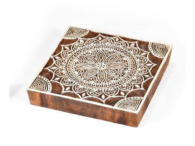 """Vvyřezávané razítko """"Mandala"""", palisandr, 15x15cm"""