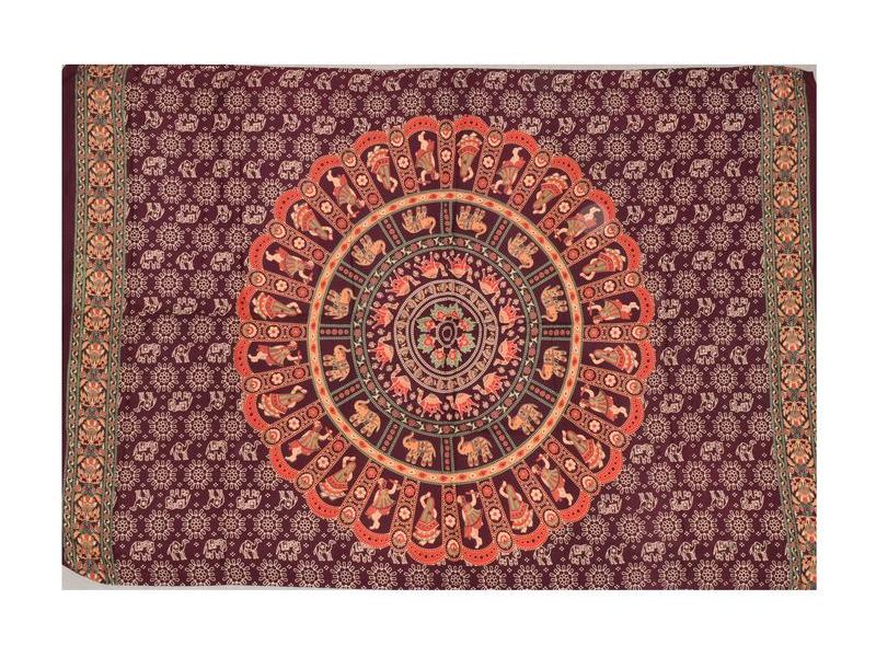 """Sárong s ručním tiskem, """"Naptal"""" design, viskóza, 120x170cm"""