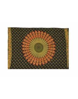 """Sárong modro-zelený """"Naptal"""" design, 110x170cm, s ručním tiskem"""