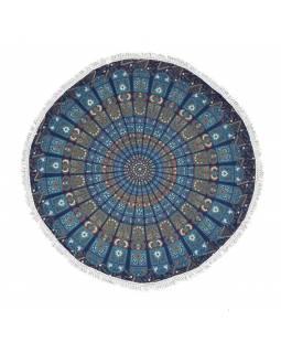 Bavlněný kulatý přehoz/ubrus s mandalou, 130 cm