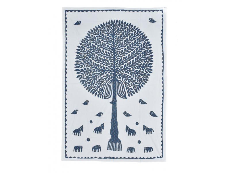 Bílý přehoz na postel se stromem života, patchwork, 150x215cm