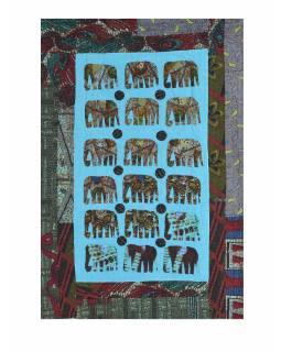 Patchworkový přehoz na postel, prošívaný se slony, 150x210cm